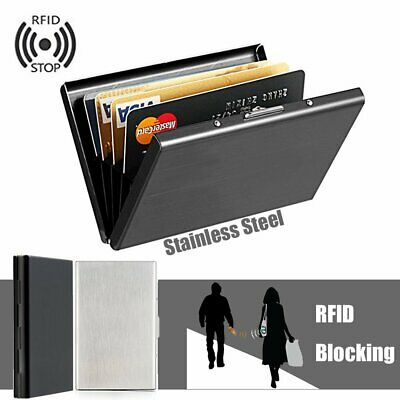 Credit Card Holder Anti RFID Stainless Steel Business Name ID Case Box Wallet