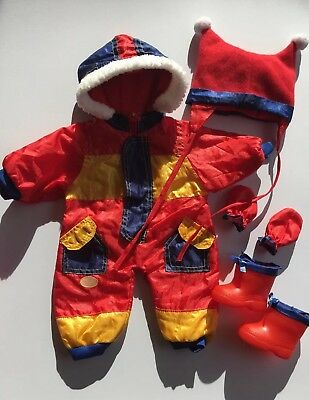 """* BAYER DOLL CLOTHES OUTFIT Snowsuit One Piece Boots Mittens Hat 46cm 18"""" - EUC"""