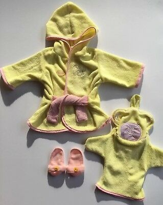 """* BAYER DOLL CLOTHES BATH TIME OUTFIT Dressing Gown Slippers 46cm 18"""" - EUC"""