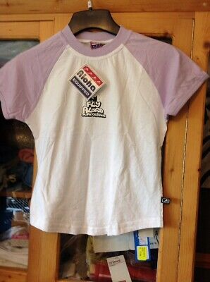 Aloha Ladies/girls Top In White And Lilac Size 12