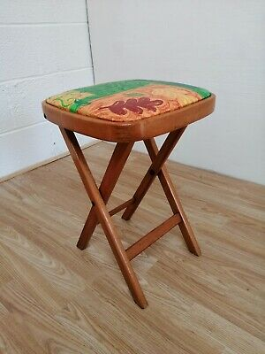 Mid Century Remploy style  beech fold up stool with colourful vinyl seat cover
