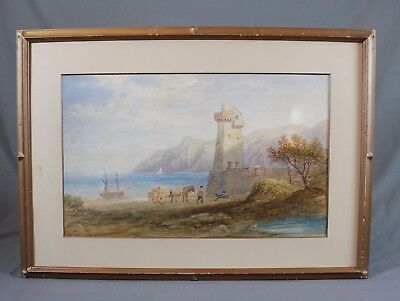 Foreland Point Lynmouth Exmoor Devon Watercolour Painting Large 19th Century