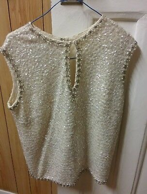 1960s Heavily Sequence,pure Wool Top.Size 12.