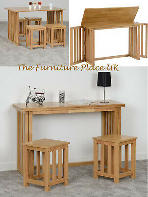 Richmond Foldaway Dining Table with Stool Option in Oak Varnish