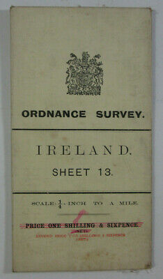 1904 Old OS Ordnance Survey of Ireland Quarter-Inch Map 13 Tipperary Dungarven &