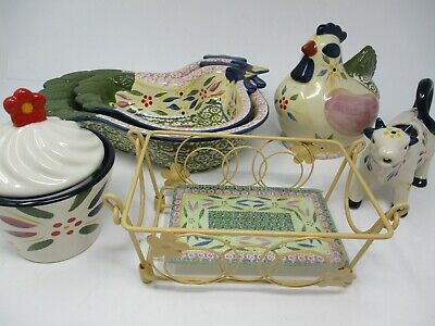 Temp-tations Old World Confetti Rooster and Cow Kitchenware Set