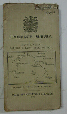 1914 Old Vintage OS Ordnance Survey One Inch Tourist Map Dorking & Leith Hill Di