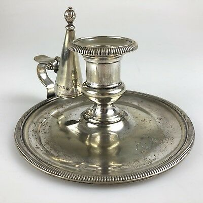 Antique Georgian Old Sheffield English Silver Plate Candle Holder H E & Co 1821