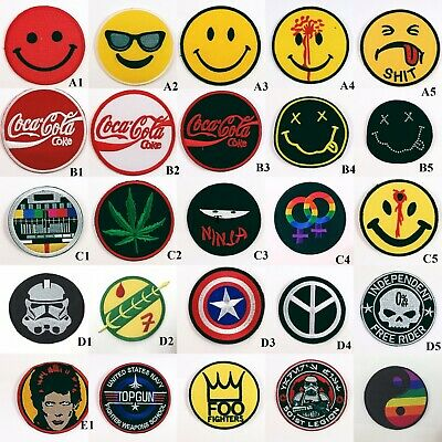 circle Iron on Patch cartoon Logo Sport Smiley Face Embroidered Sew Decor Craft