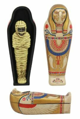 "Ebros Ancient Egyptian Golden Horus King TUT Sarcophagus with Mummy Insert 7"" L"
