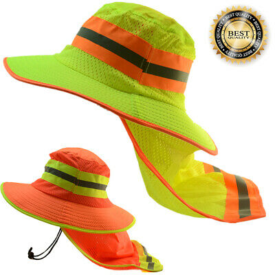 Hi Visibility Reflective Work Safety Neck Flap Boonie Hats Ventiation Bucket Cap