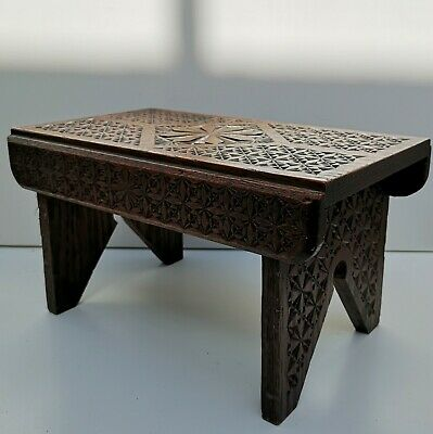 Small Antique Heavily Carved English Oak Footstool Stool Bench