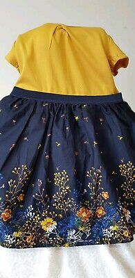 Dunnes Stores Girls  Dress Size 18-23 Months Yellow  Blue Polyester Viscose