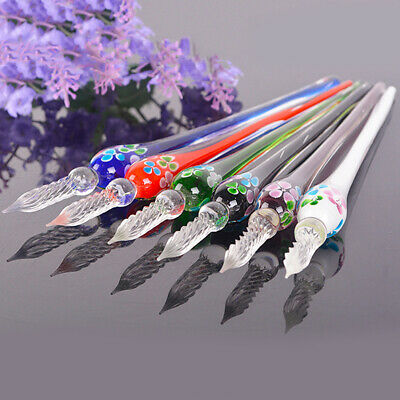 Retro Colorful Glass Signature Pen Flower Printed Crystal Dip Sign Pen
