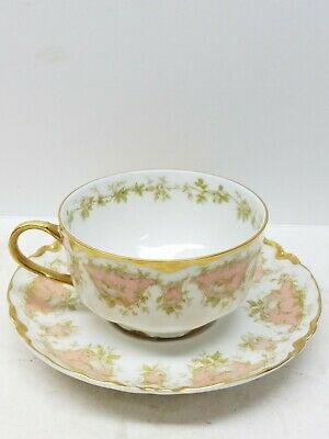 1890S Haviland Limoges Dinner Schleiger 252 White Roses Pink Ranson  Cup Saucer