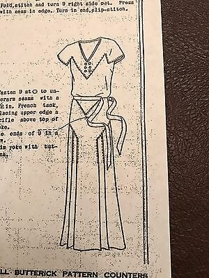 Antique Sewing Pattern- Butterick # 3619 -Ladies Dress- 1930's