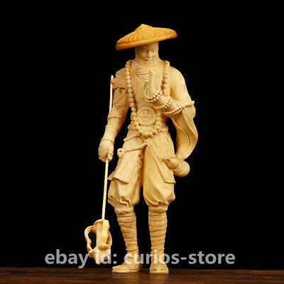 "5.9"" Chinese Exquisite Box-wood Hand-carved Warrior Monks Luohan Buddha Statue武僧"