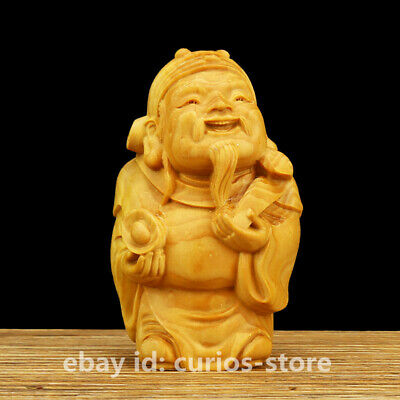 """2.8"""" Chinese Box-wood Hand-carved Mammon Lovable Yuanbao Ruyi Wealth God Statue"""
