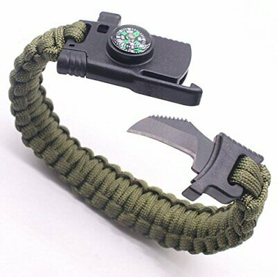5-in-1 Camping Survival Paracord Bracelet Outdoor Hunting Gear with Fire Starter
