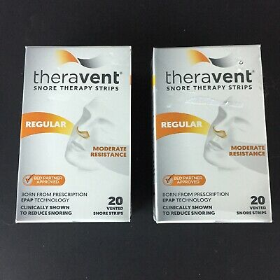 Lot Of 2 Theravent Snore Therapy, Regular Strips, 20 Each Box,