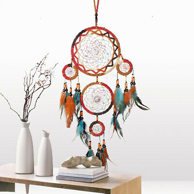 Large 5 Web Rainbow Sacred Dream Catcher Feather Home Decor Ornament Wicca Pagan