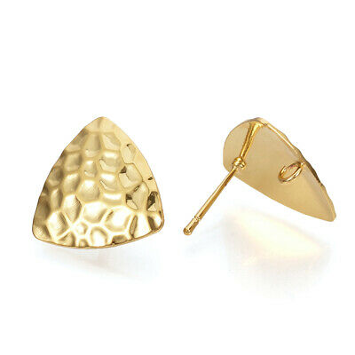 30 Brass Bumpy Flat Earring Posts w/ Loop Triangle Real Gold Plated Studs 16.5mm