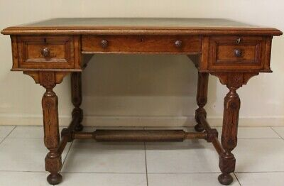 Antique Oak Desk English 3 Drawers Circa 1890