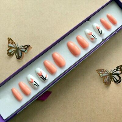 A set of Hand Painted False Nails. Coffin (or any shape). Coral Flower Summer
