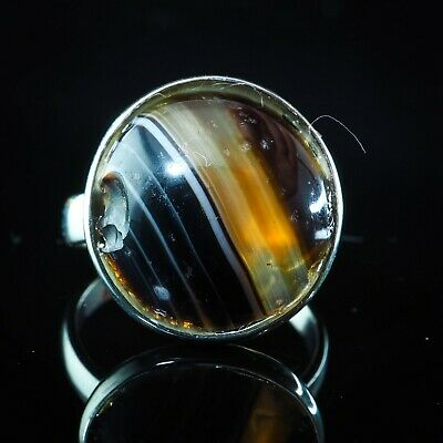 Ancient  Original Agate Protect Black Orange Eye Sterling Silver Powerful Ring