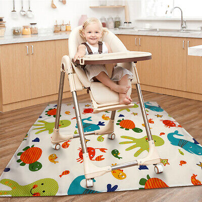 High Chair Splash Mat Floor Protector Non Slip No Mess Baby Feeding 110x110cm