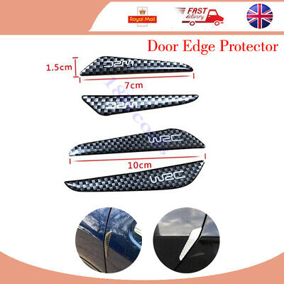 4x Black Car Carbon Fieber Anti-Scratch Door Edge Protecter For BMW Audi VW Ford
