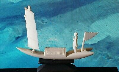 """Antique vintage bovine bone carved small boat Asian 3.5"""" by 3"""" ship monk"""
