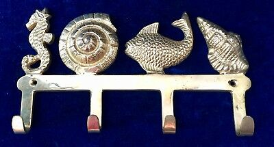 Vintage Solid Brass Wall Hooks / Key Holder, Made in India, Ocean Theme
