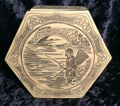Hand Carved Stone Box w/ Fishing Scene on Lid, Signed HH, Made in Great Britain