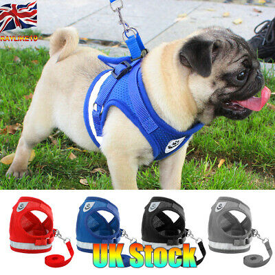 UK Dog Harness Pug Nylon Mesh Puppy Cat Vest Reflective Walking Lead Leash XS-XL