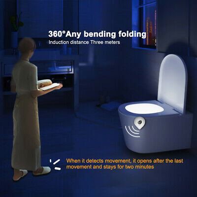 New Bathroom LED Toilet Seat Light Motion Activated Night Sensor 8-Colors Lamp