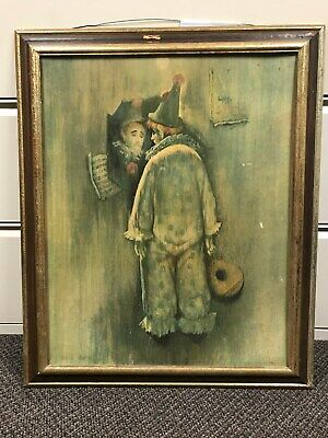 Sad Clown Vintage 1980s Painting Crying Clown in Mirror w/ Guitar Picture 29x35