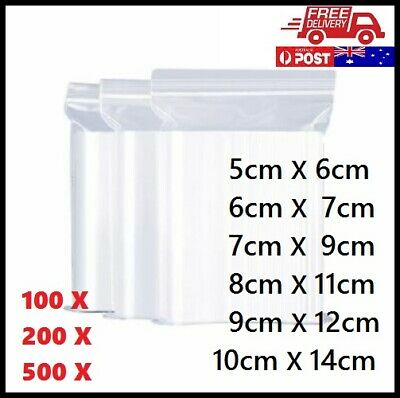 100pcs-500pcs Zip Lock Plastic Bags Resealable Zipper (Thick) AU FREE Shipping