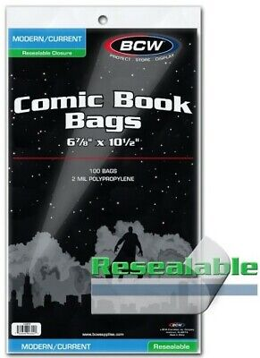 "BCW Modern Age Resealable Comic Book Bags (6 7/8"" x 10 1/2"") - Qty. 1,000"