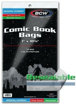 "BCW Modern Age Resealable Thick Comic Book Bags 7"" x 10 1/2"" - Qty. 1,000"