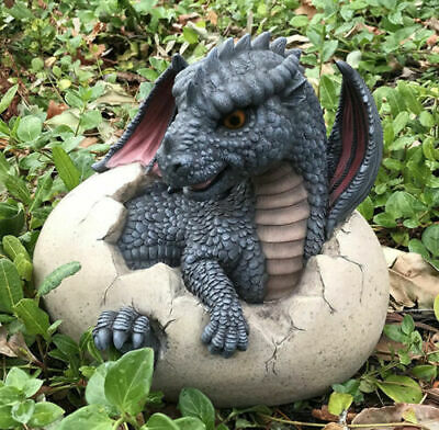 "Ebros Large Nightfury Baby Dragon Hatchling in Egg Statue 10"" Long"
