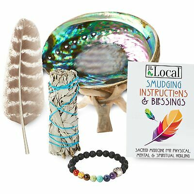 JL Local White Sage Smudging Kit Smudge Stick Gift Kit + Instructions & Bless...