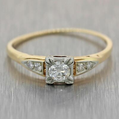 1930s Antique Art Deco 14k Yellow Gold 18k White Gold .31ctw Diamond Ring