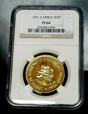 1961 south africa PROOF One Cent 1C NGC PF64 POP18 RARE 7,350 minted STUNNING