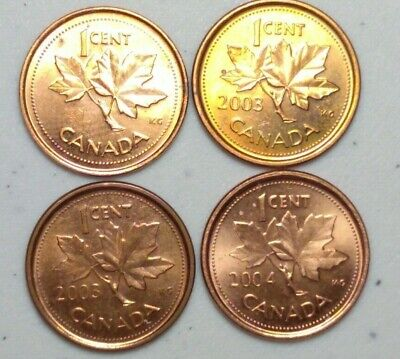 2002 & 2003, 2004 Steel  (2003 New/Old Effigy) Canada 1 Cent Variety Lot #4