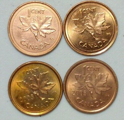 2002 & 03 Zinc and & Steel  (2003 Old Effigy) Canada 1 Cent Variety Lot #2