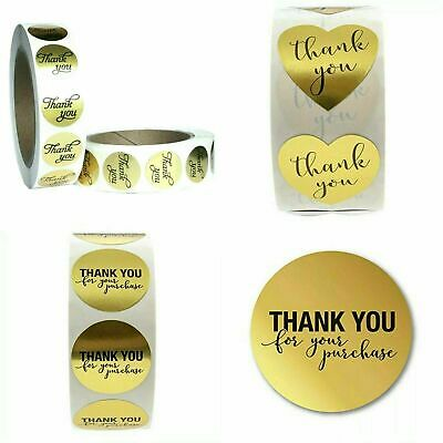Round Heart Thank You Gold Hand Made With Love Labels Stickers Gift Craft Box