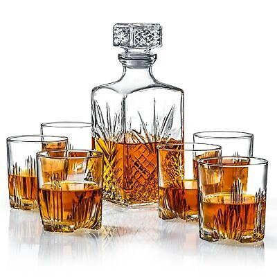 Italian Made 7-Piece Decanter Set - Whiskey Glass Lead Free Sophisticated Dec...