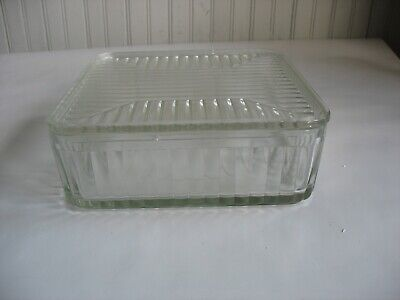 """Vintage Glass Refrigerator Dish W/ Lid 8 1/4"""" by 3"""" SQUARE Kitchen ware"""