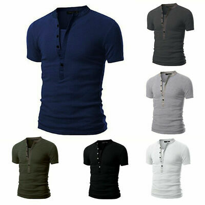 Men's Slim Fit V Neck Short Sleeve Muscle Tee T-shirt Tops Shirts Casual Summer